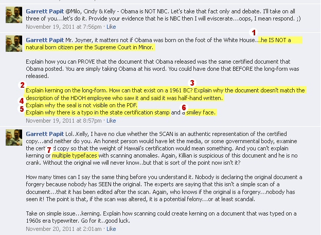 This One Series of Facebook Postings by Mr. Papit from November 2011 Shows Seven Different Discredited and/or Disproven Birther Claims