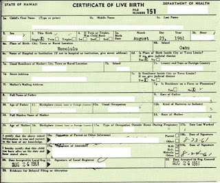 This Birth Certificate, Revealed by Jerome Corsi Last Fall, Shows that the Posse's Claimed Codes Aren't from Hawaii in 1961, Either