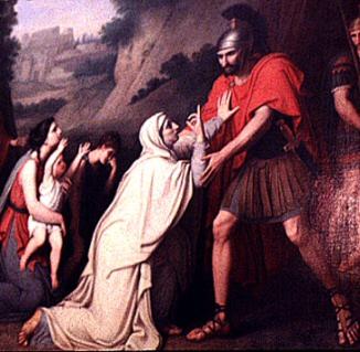 Veturia Pleads With Marcius: Please Spare Rome!